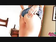 Big Bubble Butt Teen Wearing Tight Denim Shorts. Gorgeous Body.
