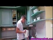Brunette strapon hot MILFs seducing dude