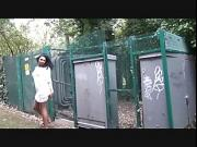 Flashing ebony milf Mels black public nudity and outdoor upskirts adventures of sexy dark voyeur babe in lingerie