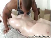 Ripped masseur orally massaging straight slong
