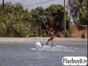 Massive boobs playmates try out wakeboarding at the lake