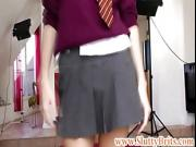 Hot petite euro babe in schoolgirl outfit fingers herself