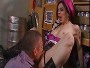 Tattooed gothic chick gets her butthole licked and fingered