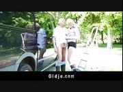 Lucky oldman bonks hot teenager blonde in a van