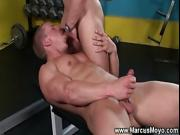Ripped gay hunk mouth fucked hard by muscled jock