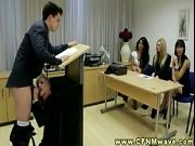 CFNM group watch stud getting blown during his speech