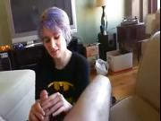 Short haired first time gives stroking POV