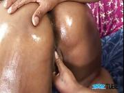 Big and busty African American slut gets creampied after sex