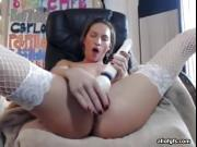 Sexy brunette in stockings masturbate using sex toys
