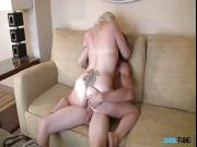 Blonde satisfies her man like never before