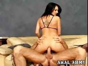 Babe in army bikini smashed in ass