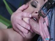 Fiiling sluts shaved cunt with sticky jizz