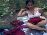 Indian Girlfriend Fucked Outdoors