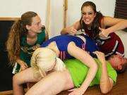 Bratty Cheerleader Handjob with Three Girls