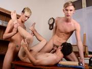 Schoolboy threesome sees the uniforms off & a young twink stuffed with cock from both ends! HD
