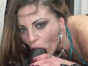 Spanish whore Nikki Nievez takes some dark schlong and gets her twat fulled with a load of cum