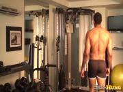 James Hung Strokes Big Cock At Gym