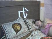 Beautiful teen ass on a bed