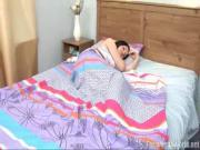 Rita wakes up with her boyfriend's arrival and has her mouth around his cock in no time
