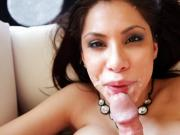 Sexy Latina Aleksa Nicole takes a huge load on her face !