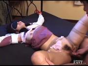 Japanese Sex Submissive Tied, Blindfolded And Nylons Ripped Off For Fucking