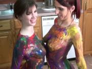 Lesbian hotties Indigo Augustine and Lavender Rayne have some naked fun with body paints