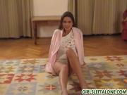 Christine stripping and showing her wet pussy