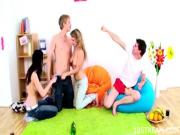 Group session with teen babes