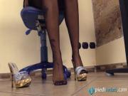 Italian Samantha in heels in the office