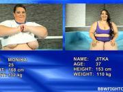 SBBW brunettes wrestle naked