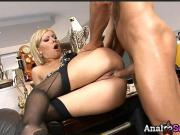 Sweet blonde secretary Sara May gets her ass fucked by her businessman boss.
