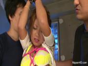 Bad little Asian girl gets punished by two dicks