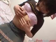 Asian chick shows her young pussy