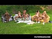 Brazil Pack of girls Backyard Orgy