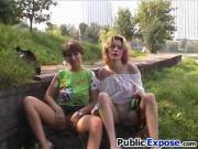 Busty public lezzies