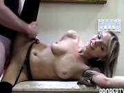 Gorgeous blonde seals the deal on her knees
