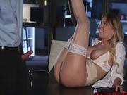 Busty secretary gets fucked in office