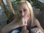 White Girl Jerking Off A Massive Dick In Her Mouth