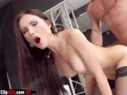 Sexy brunette likes to watch herself get fucked by hard cock