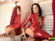Huge toy pleasuring her anus