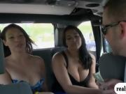 Two brunette ladies flashed their big boobs for money