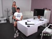 Young dude getting hard and fucks female agent