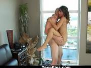 Busty Brunette Gets A Load Blown On Her Twat