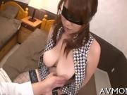 Pretty Asian hottie licking cock