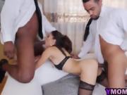 Flexible brunette milf flying threesome BBC sex