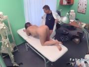 Doctor rimming and fucking busty patient in hospital