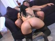 Busty brunette with a big ass loves a good DP