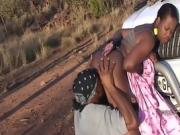Black Chick Gets Eaten Out Outdoors Against A Truck
