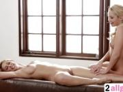 Gorgeous Blonde Lesbians Massage Their Bodies And Make Love