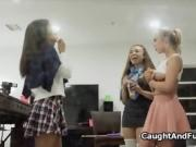 Three sorority siss caught toying by voyeur